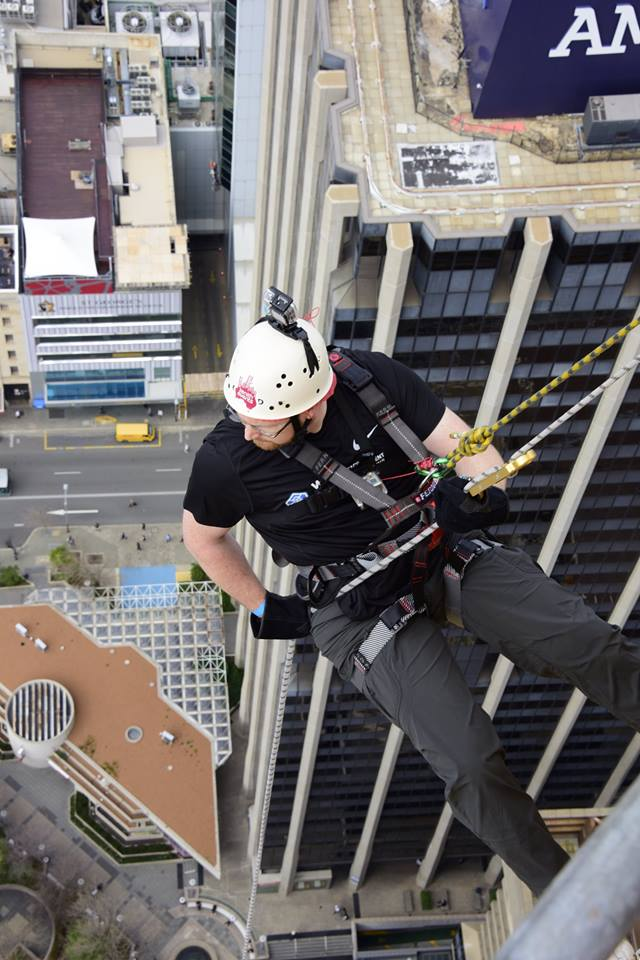 WebFM's supports Aaron to abseil 220m building in Perth